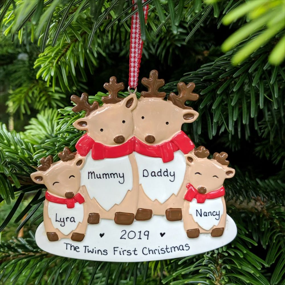 Personalised Reindeer Family of 4  Christmas Tree Decoration